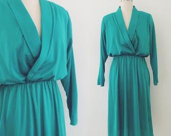 Vintage 80's aqua/green dress