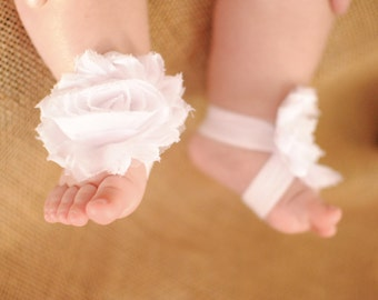White Shabby Rose Barefoot Bootie- Baby shoes- Baby sandals- Barefoot Sandals- White baby sandals- Ribbon shoes- Photo prop-Baby accessories