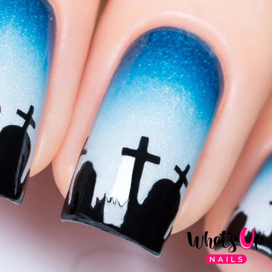Graveyard Stencils for Nails Halloween Nail Stickers Nail