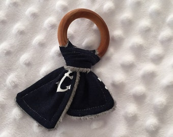 Navy Anchor Teething Ring