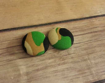 Camo Earrings - Army Earrings - Fabric Jewelry - Button Earrings - Fabric Earrings - Round Earrings - Green Earrings - Fabric Accessories