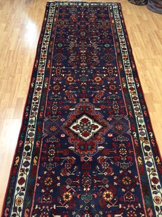 "3'5"" x 13'6"" Persian Hamadan Floor Runner Oriental Rug - Hand Made - 100% Wool - Vintage - 1980s"