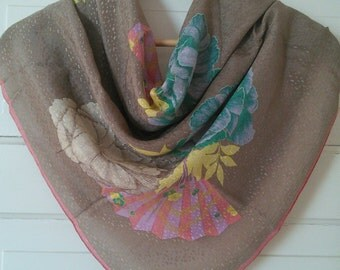 Japanese Fans Silk Jacquard scarf with BONUS Vintage pin!// Holiday gift set for her