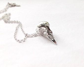 Sterling silver bird skull necklace, Long