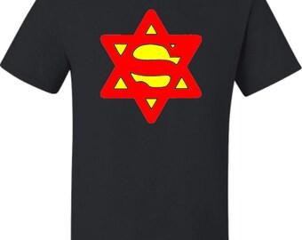 Adult Super Jew Funny Jewish T-Shirt