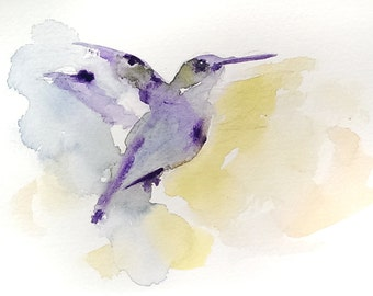 Hummingbird watercolor painting, original painting, with mat, yellow purple, original artwork, modern art, humming bird, nursery art