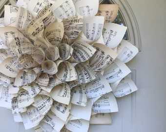 Sheet Music Cone Paper Wreath - Cone Paper Wreath - Music Paper - Paper Wreath - Cone Wreath - Home Decor - Wall Decor - Home & Living
