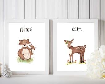 Woodland themed nursery prints, fox painting, deer painting, forest friends room, gender neutral nursery, watercolour painting, nursery art