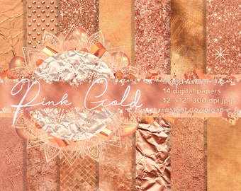 Rose Pink Gold Steamless Pattern Digital Paper Background  Glossy Glitter Metallic Foil Leather Marble Linen Tile Sparkling Textures
