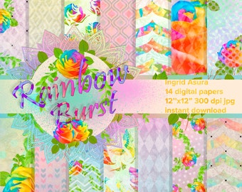 Rose Paper Pack Digital Rainbow Spring Summer Background Scrapbook Seamless Patterns Multicolor Handpainted