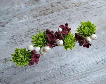 Flower hair pins Bridal hair pin Polymer clay flower Cold porcelain Bridesmaid flower pins Floral hair pins Clay lilac Green chrysanthemum