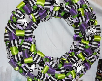 Mardi Gras Wreath, Ribbon Wreath, Mardi Gras Decorations, Purple Green Ribbon Wreath, Door Decor, Door Wreath