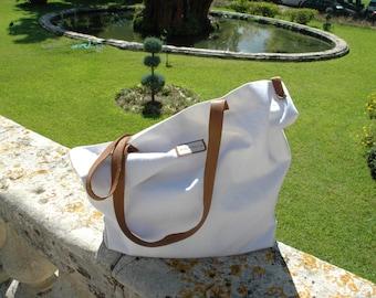 Cotton Tote Bag, White Tote Bag, Large Tote