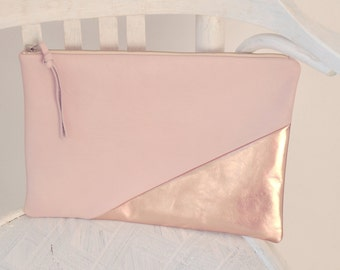 Leather Clutch, Leather Handbag, Evening Clutch, Soft Pink Handbag