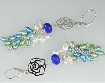 28% Off Pearl Cluster with Blue Sapphire and Rose Charm Earrings, Long Cluster Earrings
