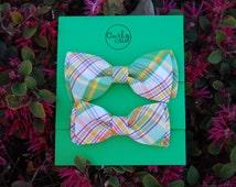 Father/ Son plaid bow tie set