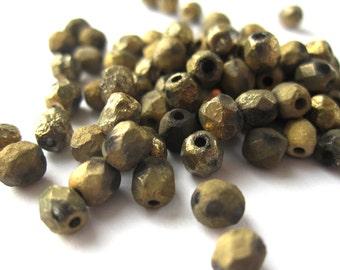 50pcs 4mm etched amber full Czech beads