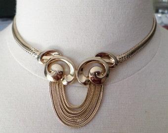 Vintage Gold Tone Modernist Choker Necklace.