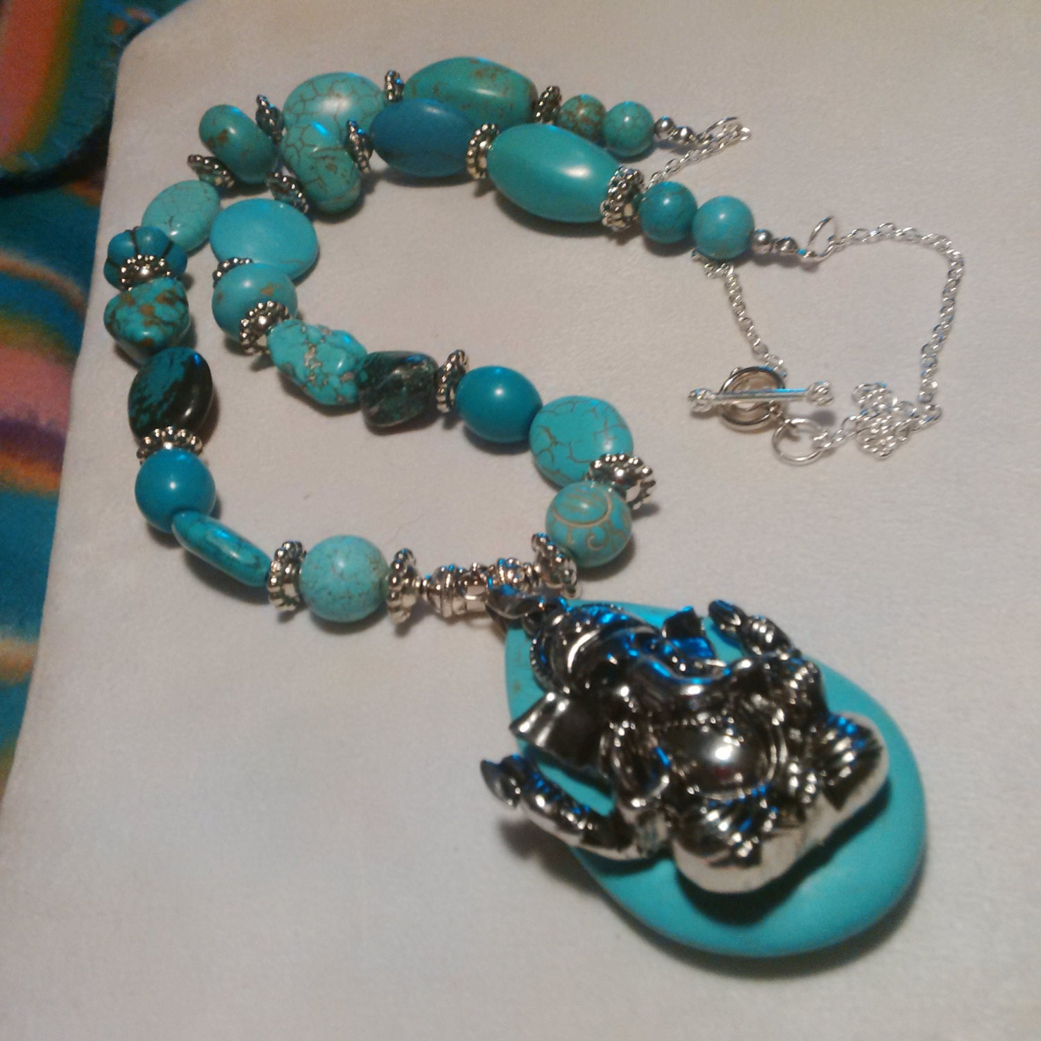 chunky turquoise statement necklace necklace by