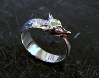 Solid Sterling Silver Bespoke Folk Fox Ring