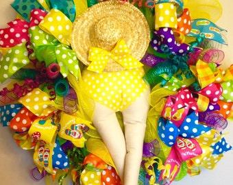 Yellow Polka Dot Bikini Butt Wreath- Summer Wreath- Vibrant Wreath- Bikini Wreath- Bikini Booty Wreath