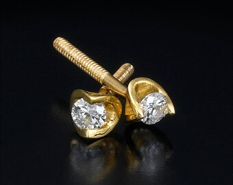 Diamond studs, diamond stud earrings, unique earrings, modern style earrings, round diamond studs, gold stud earrings, tension earring