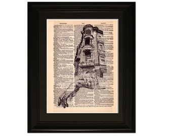 """Hand Craft"""".Dictionary Art Print. Vintage Upcycled Antique Book Page. Fits 8""""x10"""" frame"""