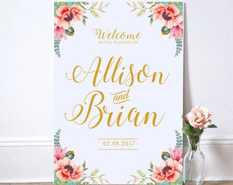 Printable Wedding Sign, Welcome Wedding Sign, Poppy floral Wedding Sign, Reception Sign, Customized Sign, Bohemian Wedding Sign, Custom sign