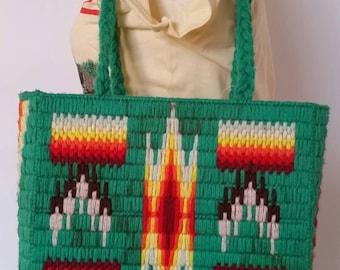 Vintage tribal print yarn needpoint craft handbag, vibrant green , handmade shoulder bag, floral lining , boho hipster hippie fun unique