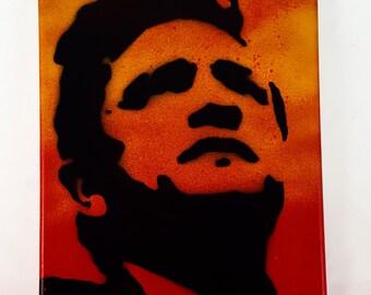 "Johnny Cash Painting on 8"" x 10"" Canvas Art - Spray Paint Art - Pop Art, Classic Music, The Man in Black,"