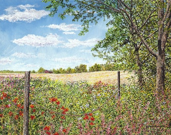 Country Print - Landscape Painting - Grass Flowers Field - Nature Art - Summer Landscape - Matted Print