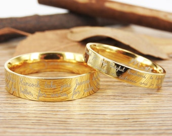 Handmade Your Marriage Vow & Signature Rings Wedding Rings, Gold Matching Wedding Bands, Titanium Couple Rings Set