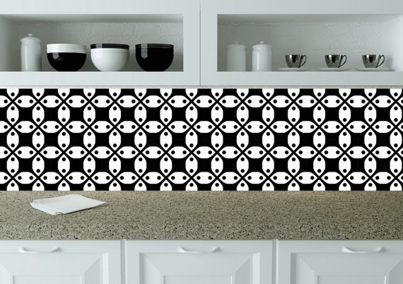 black and white tile stickers bathroom decals mexican tile set of 20