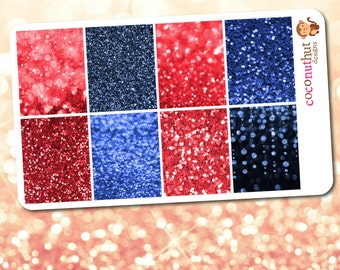 July / Red & Blue Glitter and Bokeh Full Box Planner Stickers (Erin Condren Life Planner Monthly Colors)