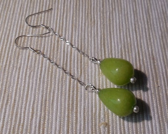 long earrings: sterling silver and Jade