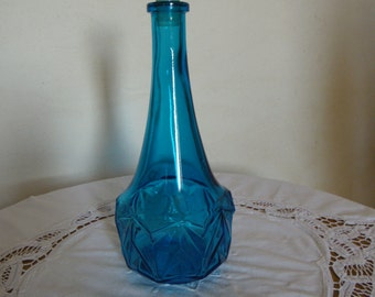 Decanter/bottle vintage. turquoise blue glass; design; 27.5 cm (in 10.82); 70