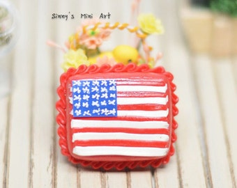 1:12 Dollhouse Miniature United States Flag Sheet Cake/ Dollhouse Miniature food/ Miniature Cakes K2308