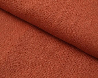 Orange Terracotta Linen Fabric