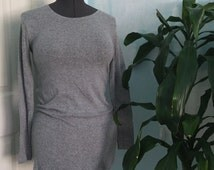 wool dress grey mid thigh above the knee long sleeve mini dress