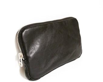 Soft Leather Wallet, Black Zip-Around Wallet, Zip Wallet, Black Leather Clutch, Leather Handbag