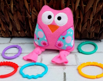 Owl stuffed animals toy.Plush owl.Embroidered owl toy.
