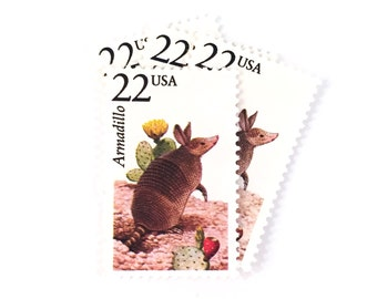 5 x Armadillo - 22 cents - 1987 Unused, Vintage Postage Stamps - Wildlife - Cactus - for mail art, scrapbooking, crafting, mailing, invites