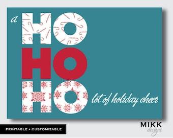 Hohoho holiday cheer christmas greeting card custom printable