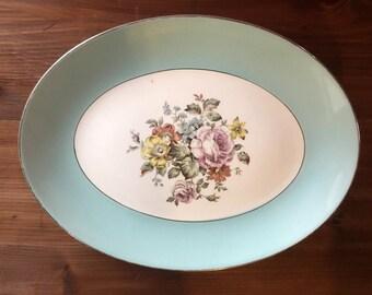 Cunningham & Pickett Danube Serving Platter, Aqua Robins Egg Blue and Floral Platter, Cottage Chic Style