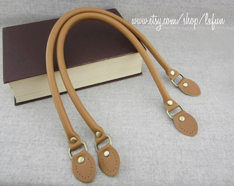 Faux Leather Handbag Handles - Camel - one pair