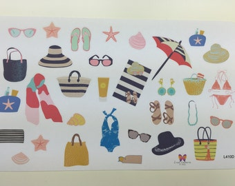 """Day at the Beach"""" Decorative Planner Stickers 