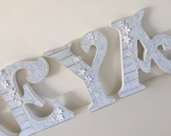 Decorated baby girl wooden letters, pale grey white,nursery decor, free standing, hanging, personslised, baby shower, customised,shabby chic