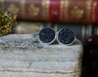 "Earrings ""Black Crystal stones"""