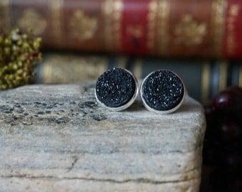 """Earrings """"Black Crystal stones"""""""
