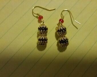 Christmas Ornament Bead Capped Earrings